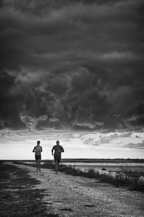 joggers on the storm