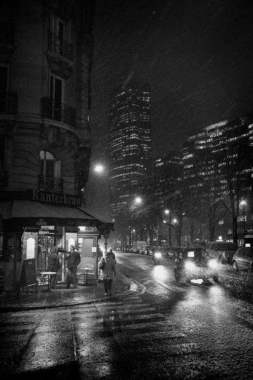 premiers flocons sur Montparnasse